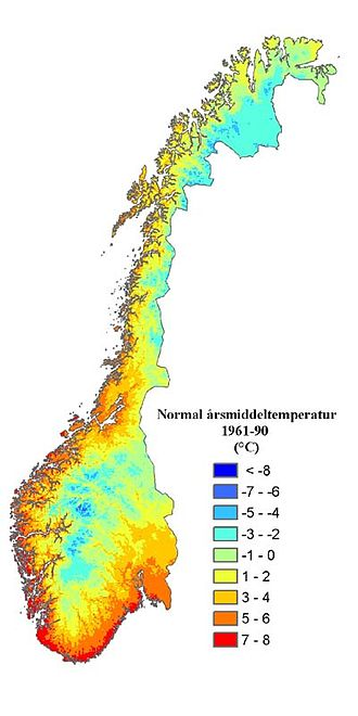 Geography of Norway - Annual average normal temperatures of Norway, 1961-1990