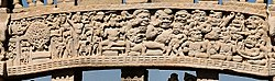 Temptation of the Buddha with Mara and his daughters and the demons of Mara fleeing Sanchi Stupa 1 Northern Gateway.jpg