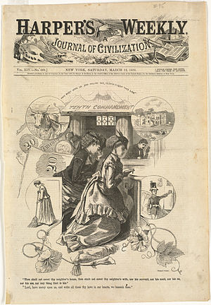 """Thou shalt not covet - """"Tenth Commandment"""", Harpers Weekly, March 12, 1870"""