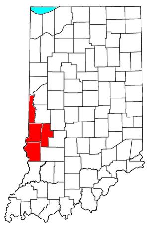 Terre Haute metropolitan area - Location of the Terre Haute Metropolitan Statistical Area in Indiana