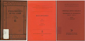 Bibliotheca Teubneriana - The covers of Bibliotheca Teubneriana Greek texts through the years: Philodemi De ira liber, ed. C. Wilke (Leipzig, 1914); Bacchylidis carmina cum fragmentis, post B. Snell ed. H. Maehler (Leipzig, 1970); Poetae epici graeci, Pars II, Fasces. 1, ed. A. Burnable (Munich, 2004)