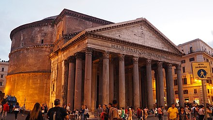 "The Pantheon, built as a temple dedicated to ""all the gods of the past, present and future"""