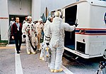 The Apollo 9 crew leaves the Kennedy Space Center's Manned Spacecraft Operations Building.jpg