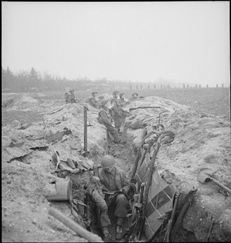 227th Infantry Brigade (United Kingdom) - Men of the 2nd Battalion, Argyll and Sutherland Highlanders in captured German trenches, 8 February 1945.