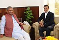 The Chief Minister of Uttarakhand, Shri Trivendra Singh Rawat meeting the Minister of State for Youth Affairs and Sports (IC) and Information & Broadcasting, Col. Rajyavardhan Singh Rathore, in New Delhi on November 24, 2017.jpg