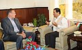 The Minister of State for Skill Development, Entrepreneurship, Youth Affairs and Sports (Independent Charge), Shri Sarbananda Sonowal meeting the FIFA General Secretary, Jerome Valcke, in New Delhi on October 14, 2014.jpg