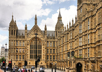 Old Palace Yard - Old Palace Yard and the Palace of Westminster, with the statue of Richard Coeur de Lion in the middle and the Peers' Entrance on the right
