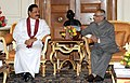 The President of the Democratic Socialist Republic of Sri Lanka, Mr. Mahinda Rajapaksa meeting the President, Shri Pranab Mukherjee, at Rashtrapati Bhavan, in New Delhi on September 20, 2012.jpg