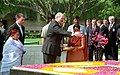 The President of the Republic of Belarus, Mr. Aleksandr Lukashenko paying floral tributes at the Samadhi of Mahatma Gandhi at Rajghat, in Delhi on April 16, 2007.jpg
