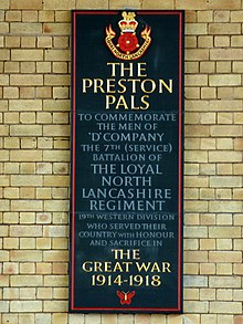A commemorative plaque for the Preston Pals.