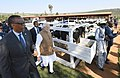 "The Prime Minister, Shri Narendra Modi donates 200 cows under ""Girinka"" (one cow per poor family programme), at Rweru Model village, in Rwanda on July 24, 2018. The President of Rwanda, Mr. Paul Kagame is also seen.JPG"