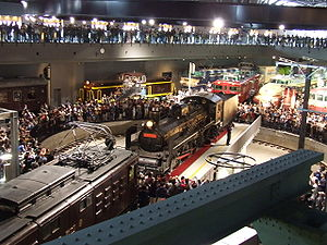 Cultural policy - A railway museum in Japan displays antique locomotives.
