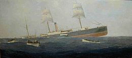 The Sinking of SS Koning der Nederlanden (oil painting by J. Eden, 1881).jpg