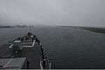 The guided missile destroyer USS Truxtun (DDG 103) prepares to pull into Constanța, Romania, March 8, 2014 140308-N-EI510-140.jpg