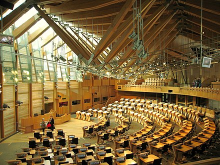 The debating chamber of the Scottish Parliament. The main chamber, the Scottish Parliament - geograph.org.uk - 400523.jpg