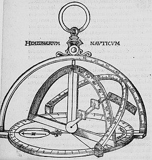 Michiel Coignet - Nautical hemisphere, illustration from the Instruction nouvelle