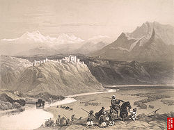 The palace of Maharaja Gulab Singh, on the banks of Chenab, Jammu, mid 19th century.jpg