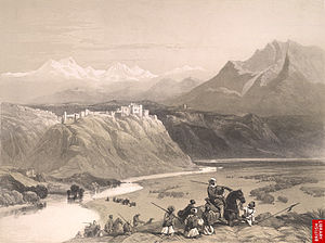 Gulab Singh - The palace of Maharaja Gulab Singh, on the banks of Chenab, Jammu, mid 19th century.