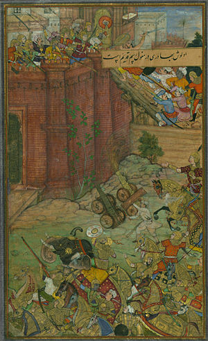 History of Kyrgyzstan - The siege and battle of Isfarah. Babur and his army assaults the fortress of Ibrāhīm Sārū (painting circa 1589-90)