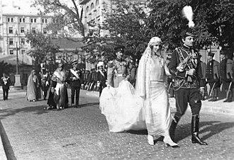 Princess Olga of Greece and Denmark - Princess Olga and Prince Paul on their wedding day, 1923.