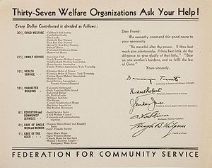 United Way of Canada - A broadside published in the 1930s by the Federation for Community Service in Toronto, showing how donations are distributed to member agencies