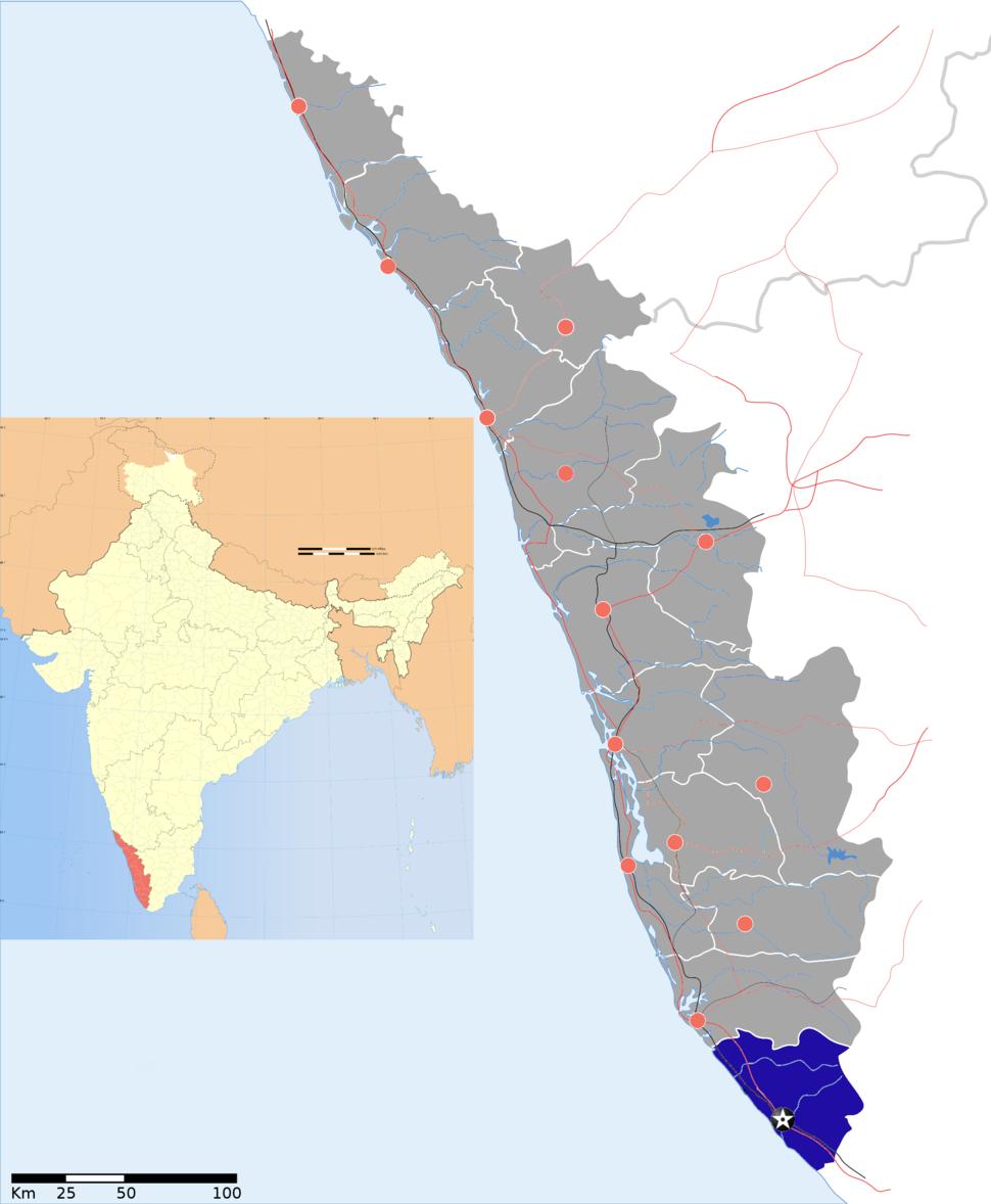 Location of Thiruvananthapuram district in Kerala
