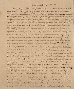 John Holmes (Maine politician) - This is the first page of a two-page letter written to Holmes by Thomas Jefferson on April 22, 1820.
