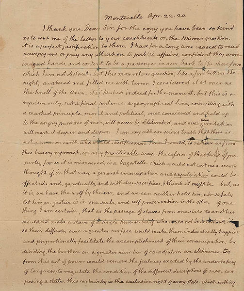 Thomas Jefferson S Letter To John Holmes