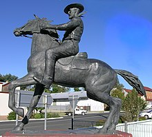 Statue of Captain Thunderbolt at the intersection of New England Highway and Thunderbolts Way, Uralla, NSW