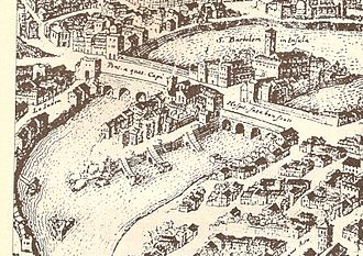 Tiber Island - An illustration of the Tiber Island in a 1593 print.
