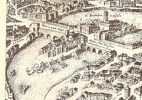 An illustration of the Tiber Island in a 1593 print. Tiber Island.jpg
