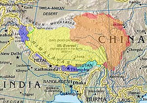 Cultural/historical Tibet (highlighted) depict...