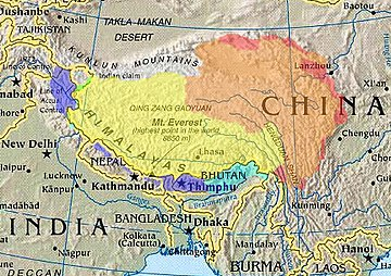"Cultural/historical, (highlighted) depicted with various competing territorial claims.               ""Greater Tibet"" as claimed by Tibetan exile groups   Tibetan autonomous areas, as designated by China   Tibet Autonomous Region, within China Chinese-controlled, claimed by India as part of Ladakh Indian-controlled, parts claimed by China as South Tibet Other areas historically within the Tibetan cultural sphere"