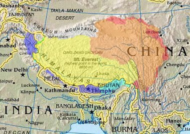 Cultural/historical Tibet (highlighted) depicted with various competing territorial claims.