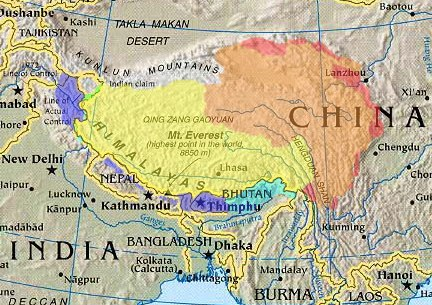 "Cultural/historical, (highlighted) depicted with various competing territorial claims.                             ""Greater Tibet"" as claimed by Tibetan exile groups                    Tibetan autonomous areas, as designated by China                  Tibet Autonomous Region, within China                 Chinese-controlled, claimed by India as part of Aksai Chin                 Indian-controlled, parts claimed by China as South Tibet                 Other areas historically within the Tibetan cultural sphere"