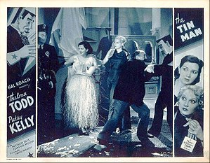 Patsy Kelly - Lobby card for short comedy The Tin Man (1935) with Patsy Kelly and Thelma Todd