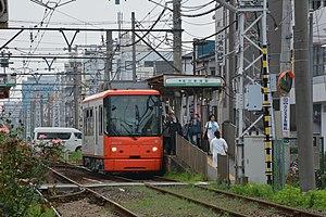 Toden Arakawa Line - A Toei 8800 series tram at Arakawa-shako-mae Station in September 2014