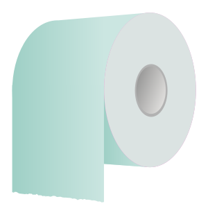 A white toilet paper roll