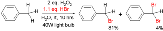 Free-radical halogenation - bromination of toluene with hydrobromic acid and hydrogen peroxide in water