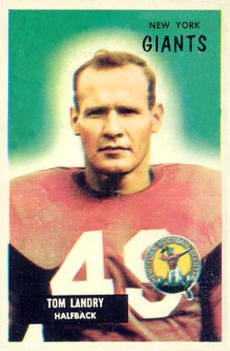 Tom Landry - Landry on a 1955 Bowman football card