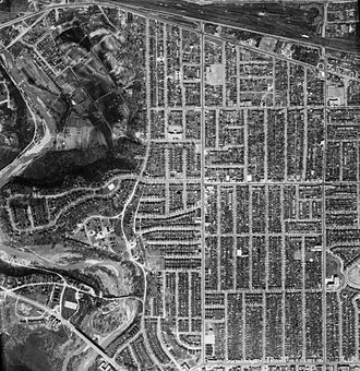 Baby Point - Aerial photograph of the area in 1942. Baby Point may be seen in the west (left).