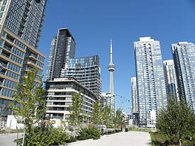 View of CityPlace with CN Tower in the centre background