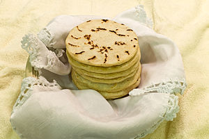 Salvadoran cuisine - Salvadoran tortillas are a staple of the Salvadoran diet. These are thicker (5 mm) than Mexican tortillas, about 10 cm in diameter.