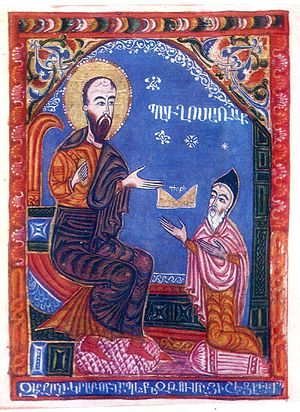 Thomas of Metsoph - Tovma Metsobetsi in miniature of 1435