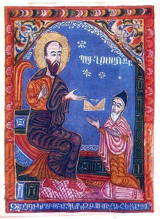Thomas of Metsoph - Tovma Metsobetsi in miniature of 1435