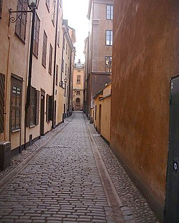 Trädgårdsgatan alley in Gamla stan, Stockholm, Sweden
