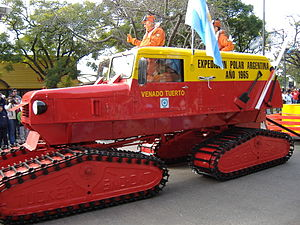 Argentine Antarctica - Caterpillar tractor from the first Argentine expedition that reached the South Pole in 1965.
