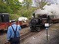 Train approaching Tan Y Bwlch (7819283924).jpg