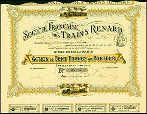 Charles Renard - Bearer share certificate. Société Francaise des Trains Renard SA, issued 29 January 1907