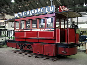 Nantes tramway - Preserved Nantes compressed air tramcar at the AMTUIR museum
